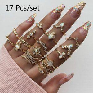 Boho 17 Piece Luxury Clear Crystal Ring Set